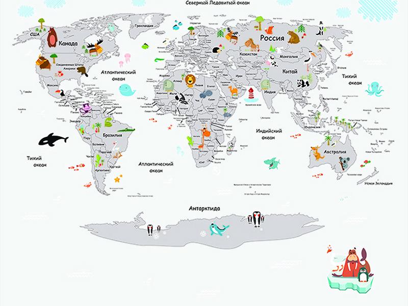 Детская карта мира со зверями белая 2310
