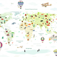 Детская карта мира с животными белая