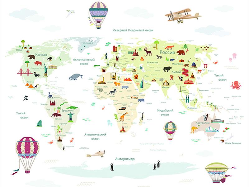 Детская карта мира с животными белая 2311