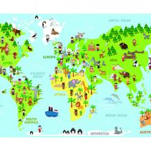 Детская карта со зверями
