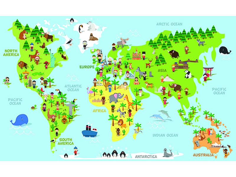 Детская карта со зверями 2312