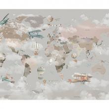 Детская карта мира в облаках