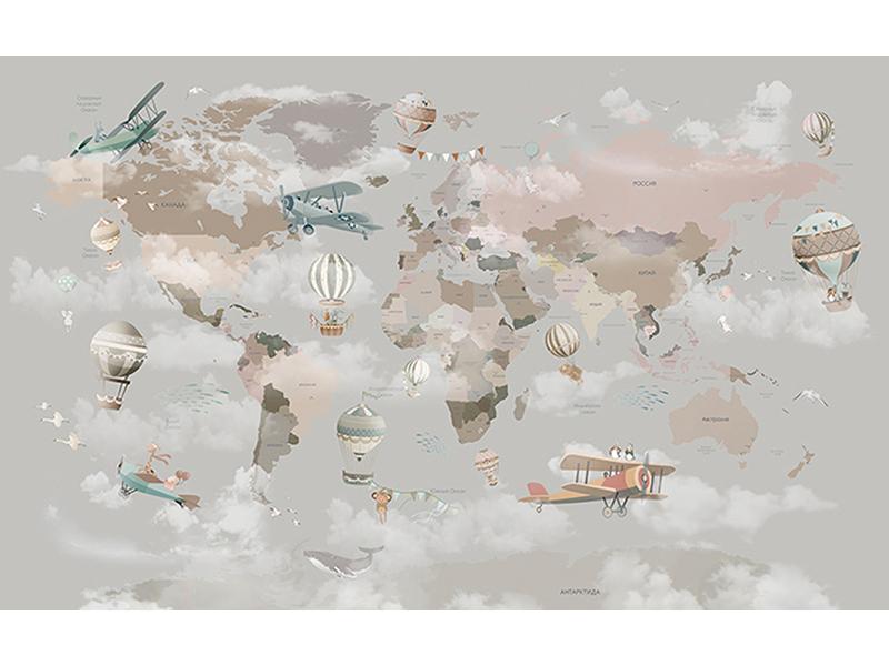 Детская карта мира в облаках 2313