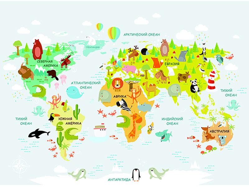 Детская карта мира с животными 2315