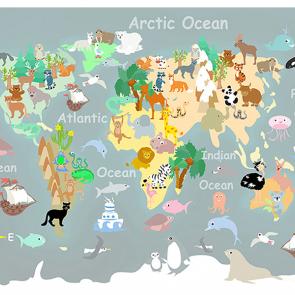 Детская карта мира со зверями серая