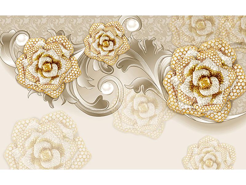 Цветы 3д бежевые 1755