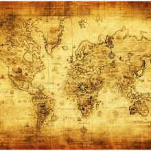 Карта мира на пергаменте
