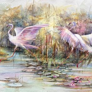Фламинго акварелью