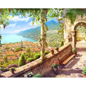 Фотообои вид над городом фреска