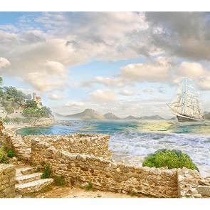 Каменный берег и корабль