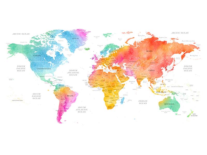 Карта мира цветная 2330