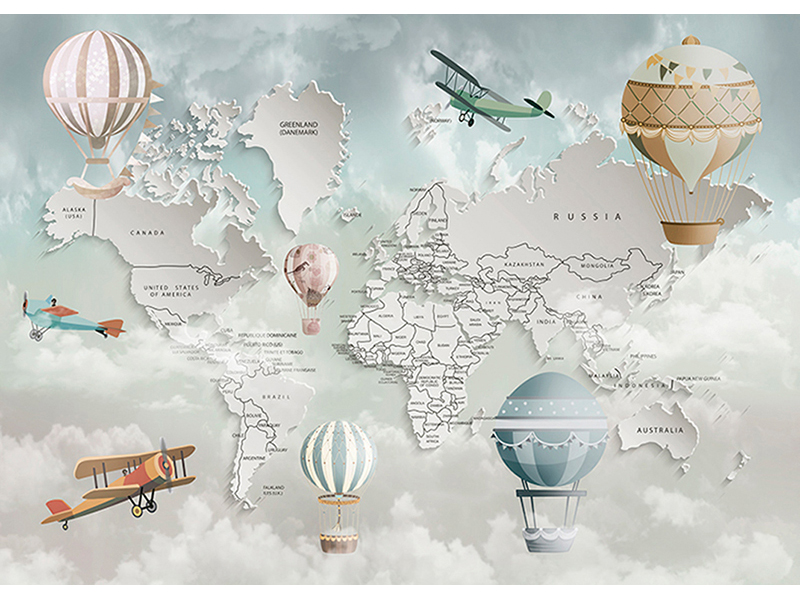 Карта мира 3д английская 2333