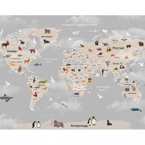 Фотообои Детская карта мира в облаках серая