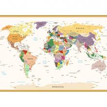 Политическая карта мира винтажная в рамке