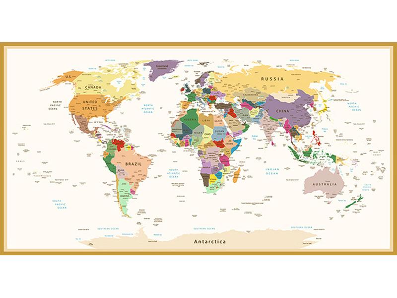 Политическая карта мира винтажная в рамке 2336