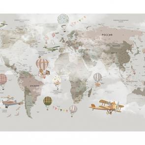 Фотообои детская карта мира в дымке