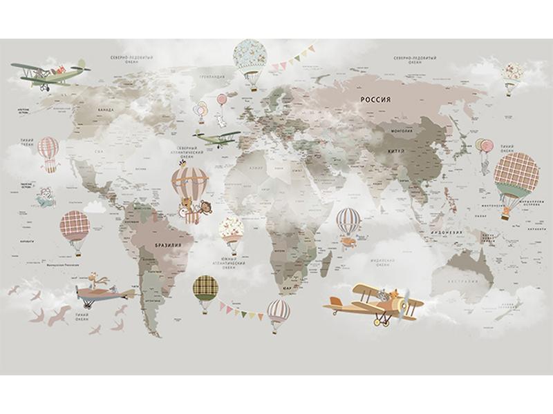 Детская карта мира в дымке 2338