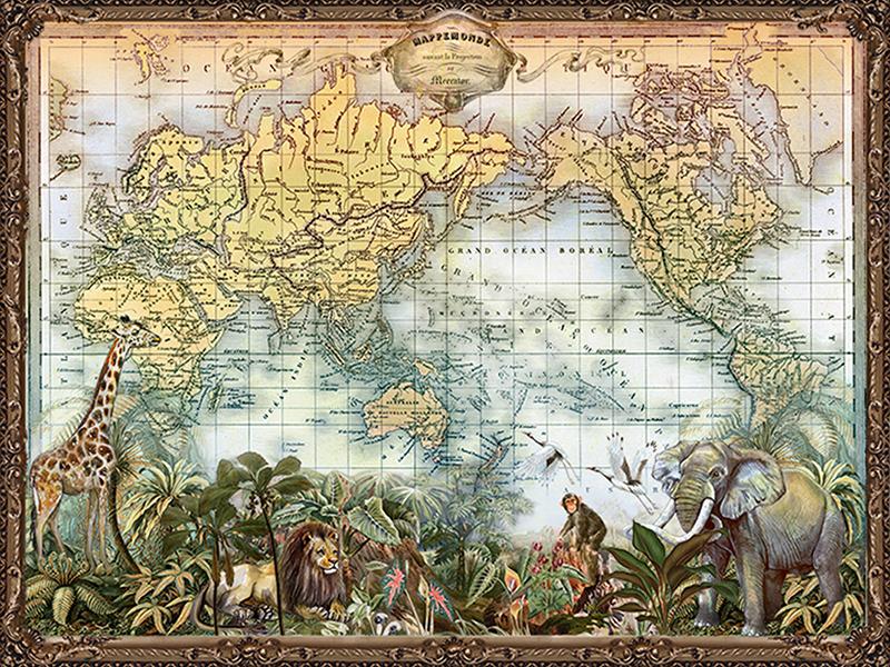 Карта мира и звери 2339