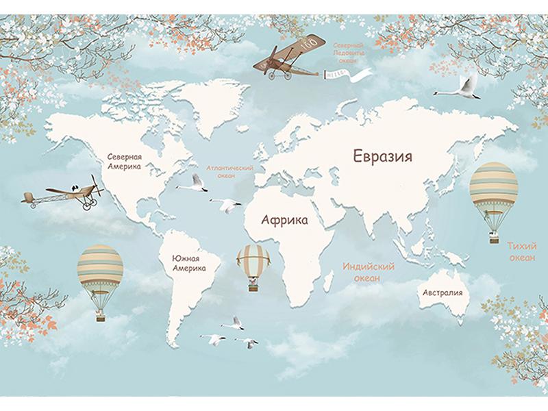 Детская карта мира в небе 2516