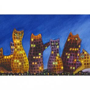 Ночной город котов