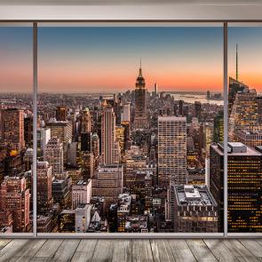 Нью-Йорк на закате из окна