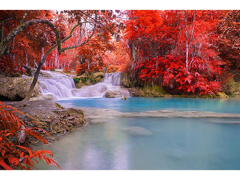 Водопад и красная листва 1399