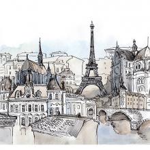 Париж акварель