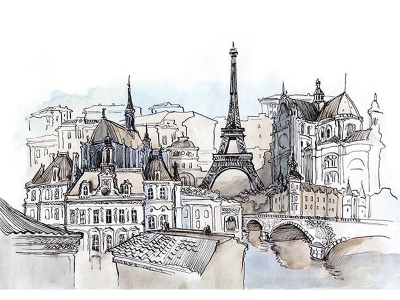 Париж акварель 1342