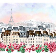 Париж с цветами акварель