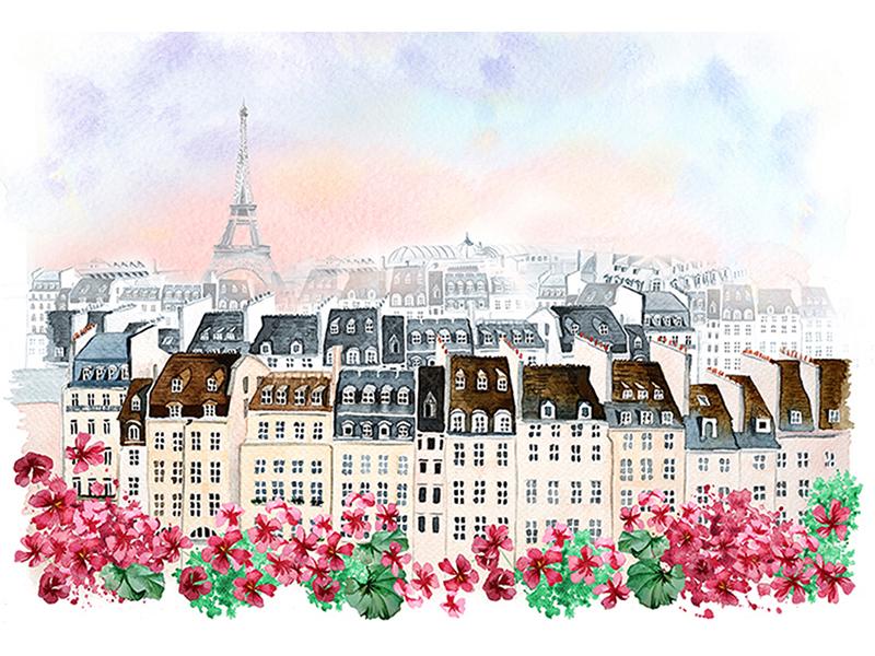 Париж с цветами акварель 1336