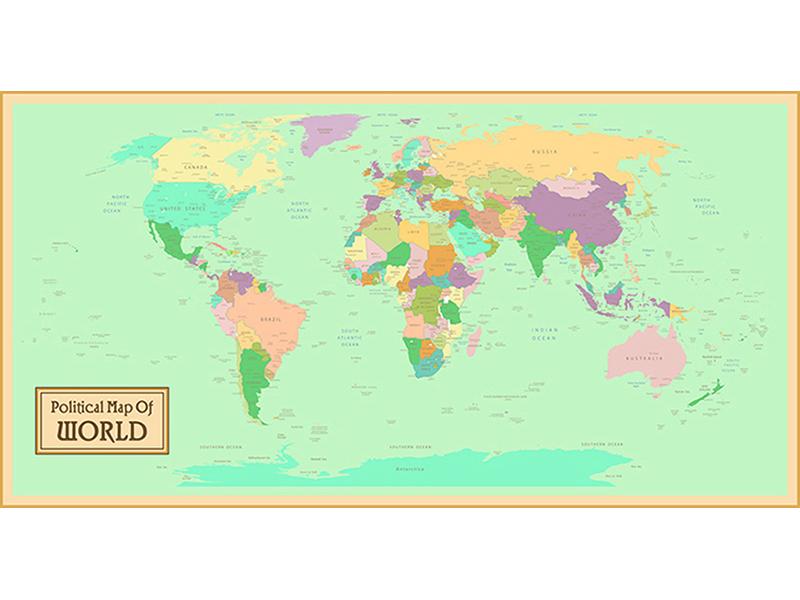 Политическая карта мира в рамке 2342