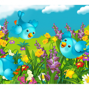 Птички на лужайке