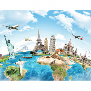 Фотообои Карта мира с архитектурой