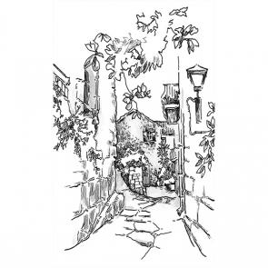Рисованная улочка черно-белая