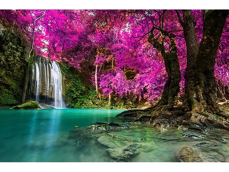 Водопад на лесном озере 1174