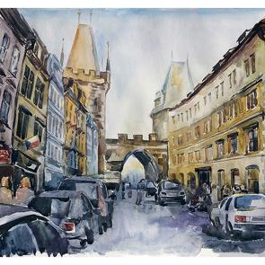 Старая Прага акварель