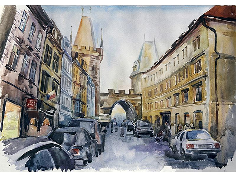 Старая Прага акварель 1149