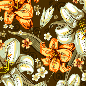 Узор с лилиями