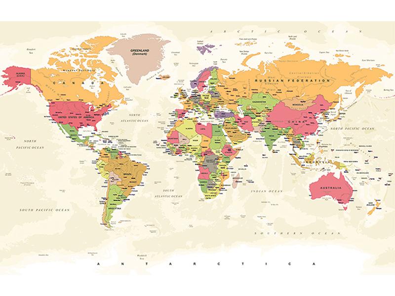 Карта мира винтажная 2347