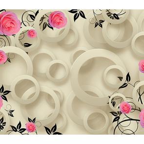 Зеркальные круги с цветами