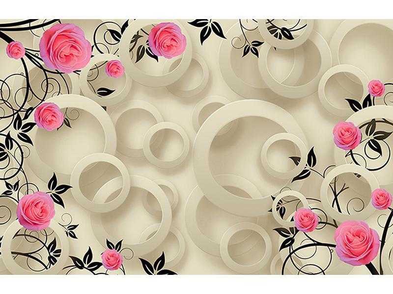 Зеркальные круги с цветами 1682