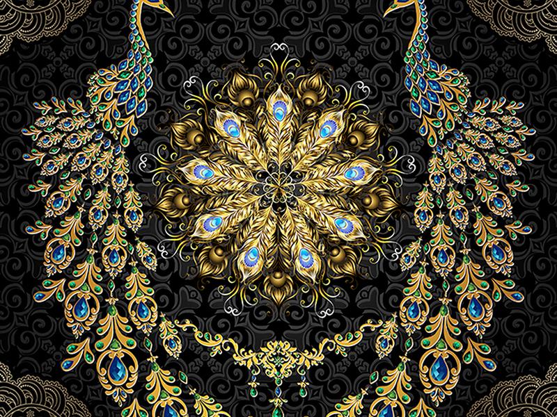Золотые павлины на черном 1673