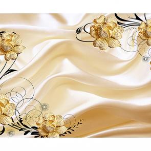 Золотые розы на атласе